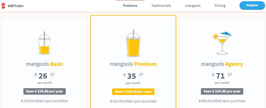 prices mangools