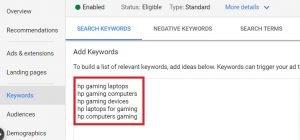 search engine marketing keyword list