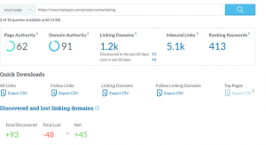 moz link explorer tool - domain authority score