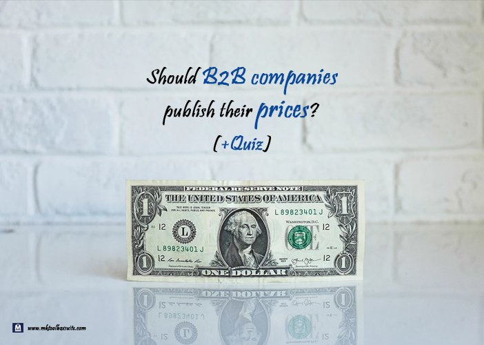 should b2b companies publish prices