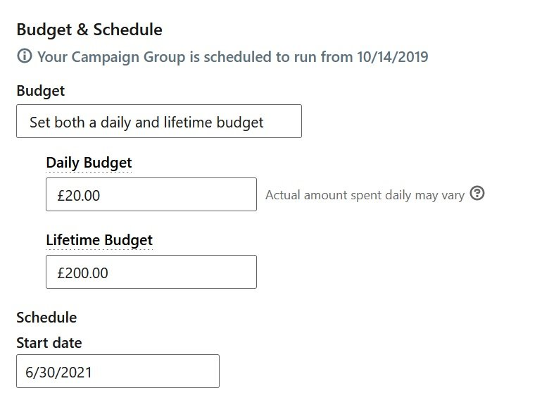 how to create linkedin ads - budget and schedule