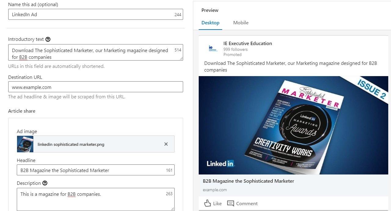 linkedin sponsored content - campaign