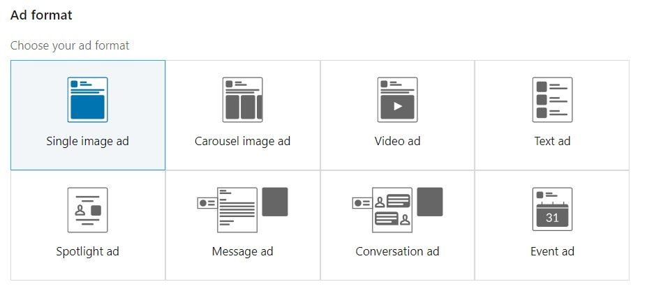 linkedin ad formats - single image ad