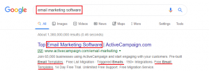 email marketing software - google ads quality score example