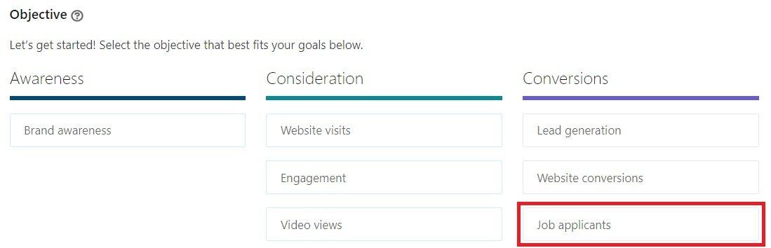 linkedin ad formats - job application opportunities
