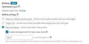 linkedin ads tips - manual bidding