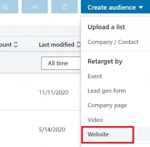 linkedin matched audiences - website retargeting