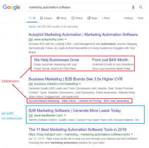 google ads extensions - example