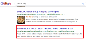 homemade chicken broth search example