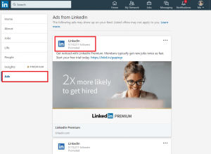 linkedin ads tab