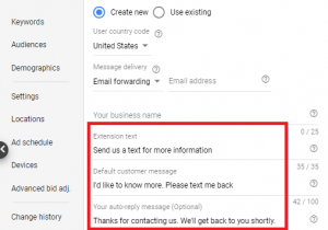 message extensions set up