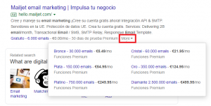price google ads extensions