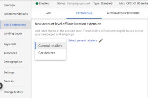 affilicate location google ads extensions