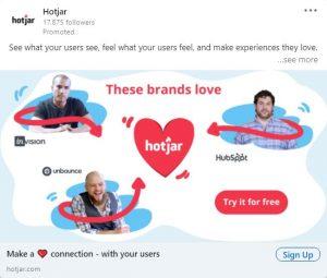 linkedin ad examples - hotjar