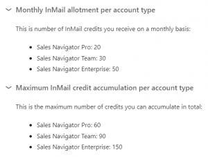 inmail credits - linkedin sales navigator