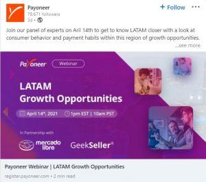 linkedin ad examples - payoneer