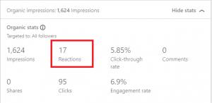 linkedin metrics: reactions