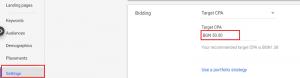 google ads bidding strategies - target cpa