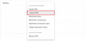 target roas google ads bidding strategies