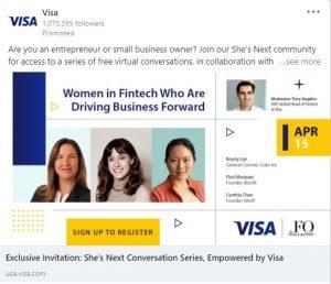linkedin ad examples - visa