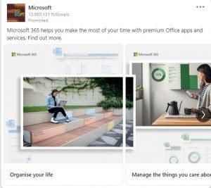 linkedin carousel ad examples - microsoft