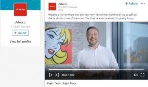 linkedin video ads example - adecco