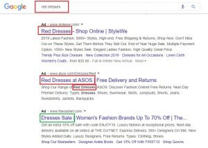 red dresses example google ads