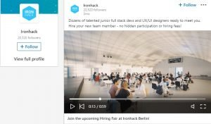 ironhack linkedin video ads