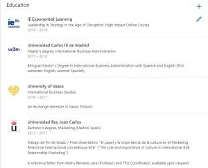 education section linkedin