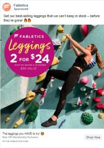 facebook ad examples - fabletics