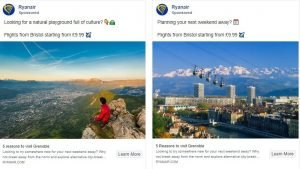 facebook ad examples - ryanair