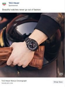 facebook ad examples - tag heuer
