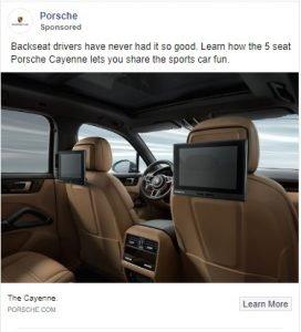 facebook ad examples - porsche