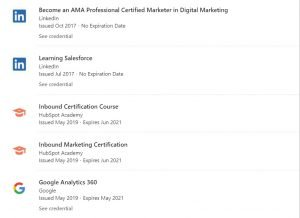 licenses and certifications linkedin