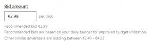 linkedin ads cost - peru - recommended bid