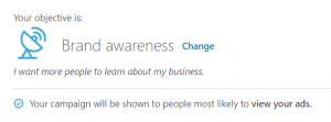 linkedin objectives - brand awareness