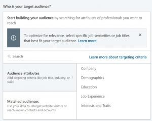 linkedin dynamic ads - build your audience