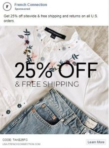 facebook clothing ads examples - french connection