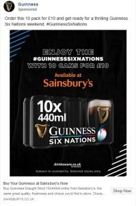facebook ad examples - guinness