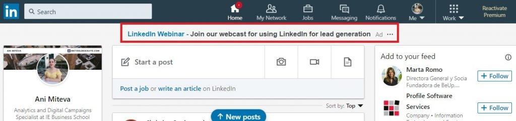 Пример текстового объявления в верхней части LinkedIn
