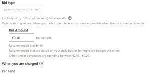 linkedin bid types - cost per send