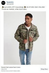 facebook clothing ads examples - superdry