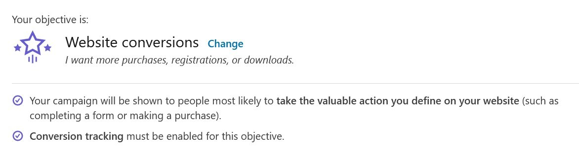 linkedin campaign objectives - website conversions