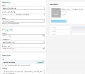 create a company page - linkedin