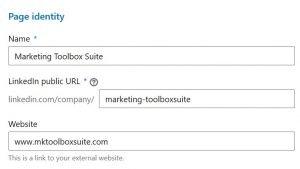 create a company page - page identity