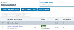 create a linkedin ad account - campaign group