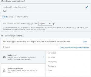 create a linkedin ad account - target audience