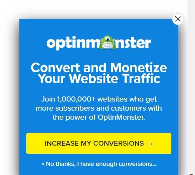 optinmonster website pop up message