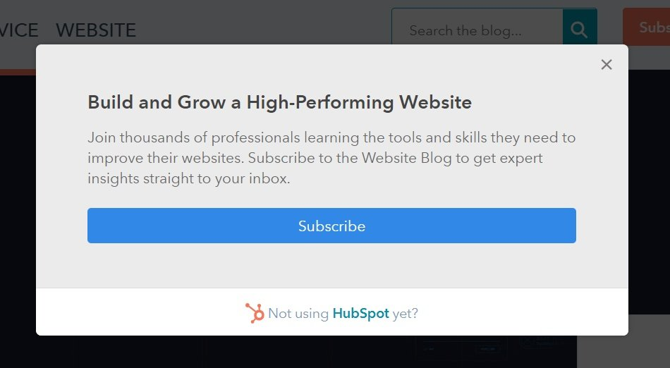 pop up examples hubspot